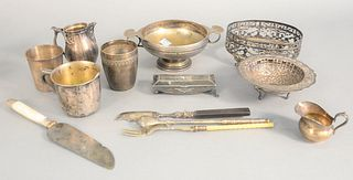Silver lot to include cups, bowl, creamer, salt and pepper, 19.2 t.oz.