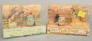 "Two Bradley wrist watches still in their original boxes, one ""Queen of the West 'Dale Evans'"" and ""King of the Cowboys 'Roy Rogers'"", 4"" x 5 3/8"" x 2"