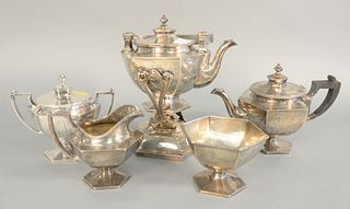 "J.C. Caldwell five piece sterling silver tea with tilting hot water pot, 113 t.oz., 9"" high. Provenance: The Vincent Family Collection, Fairfield, Con"