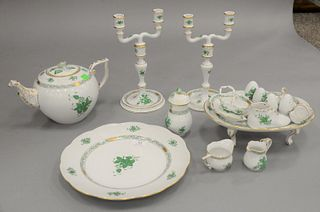 Group of twenty-three Herend Chinese Bouquet Green porcelain tableware, to include six large scallop edge plates, a footed serving tray, two candelabr