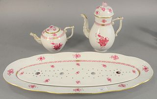 "Group of three Herend Chinese Bouquet Raspberry tableware, including a large serving platter, one demi pot, and one teapot, 10-1/2"" high (coffee pot)."