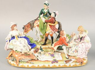 "German porcelain figural group, picnic with game and figures. 11"" x 16"" x 8 1/2""."