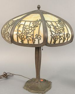"Bradley and Hubbard Victorian panel shade lamps each having an eight paneled dome glass shade with brass floral details, ht. 24"", dia. 20""."