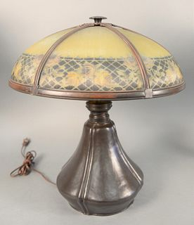 "Victorian panel shade lamp having six panel dome top with brass and floral detailing on bronze base, ht. 22"", dia.18""."