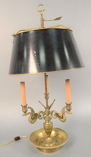 "French empire style three-light adjustable shade bouillotte lamp, three swan form candle arms and urn shaft, electrified, ht. 31""."