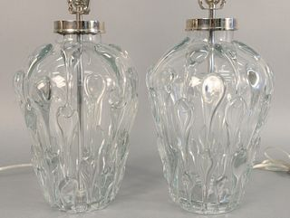 "Two Vaughan Crystal glass table lamps, 15 3/4"" x 10 1/4""."