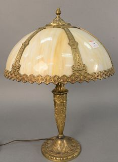 "Six paneled dome glass and brass table lamp shade with accompanying base, ht. 23 1/2"", dia. 16 1/2""."