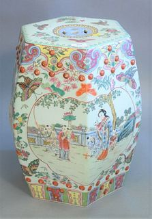"Chinese Famille Rose garden seat, painted scenes with figures amongst butterflies and flowers, ht. 19""."
