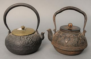 Two early Japanese iron and bronze teapots, one with Asian design to body, bronze cover, signed under cover, the other having band with drop flowers a