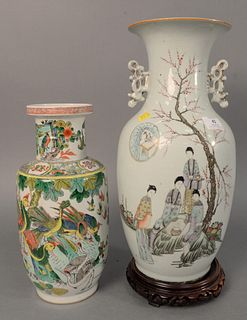 "Two Chinese porcelain vases, Famille verte vase with enamelled phoenix birds along with Baluster vase painted with figures, 17-1/2"" high. Provenance:"