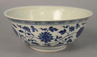 "Chinese porcelain blue and white bowl, bell form with flower and vine design, six character mark on the underside, dia. 8""."