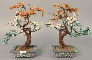 "Pair of turquoise hardstone trees in cloisonne planters, ht. 13""."