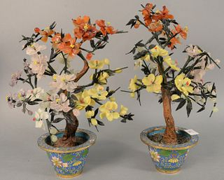 "Pair of jade and hardstone trees in cloisonne planters, ht. 17""."