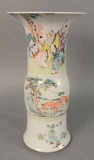 "Chinese porcelain Famille verte trumpet vase, sleeve form with painted deer and figural landscape, six character mark on the underside, ht. 16""."