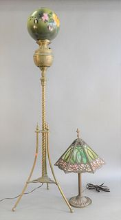 """Two lamps,Victorian 'Gone with the Wind' floor lamp along with a slag glass table lamp, floor lamp ht. 58 1/2"""", table ht. 24"""","""