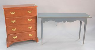 Two piece lot Suter's Handcrafted Furniture, Chippendale style cherry four drawer dresser on bracket feet, signed on the outside of the top drawer alo