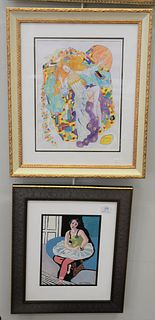 """Six piece group to include, two framed pieces, one after Henri Matisse, watercolor, ballerina, sight size 11"""" x 8""""; a Gustav Klimt, watercolor on pa"""