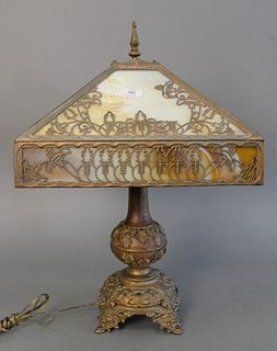 """Victorian slag glass table lamp, four panels and brass details, ht. 26""""."""