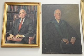 Two piece lot to include American School (20th Century), portrait of Saul B. Gusberg (1919-2005), 1990, oil on canvas, signed indistinctly and dated l