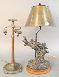 """Two bronze table lamps, one unmarked, one marked Maitland-Smith to the underside with reclining frog on wooden base, 30"""" x 12"""" (frog), ht. 21""""."""