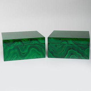 Pair of Modern Faux Malachite Table Boxes