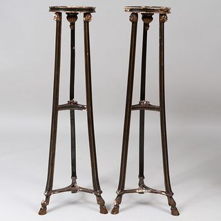 Pair of George III Style Green Painted and Parcel-Gilt Torchéres