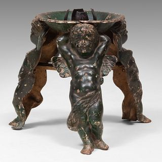 German Painted Iron Christmas Tree Stand with Cherub Form Supports, Late 19th Century