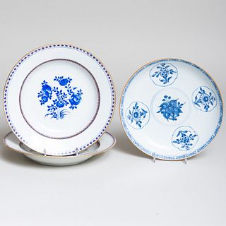 Group of Chinese Export Blue and White Porcelain Wares