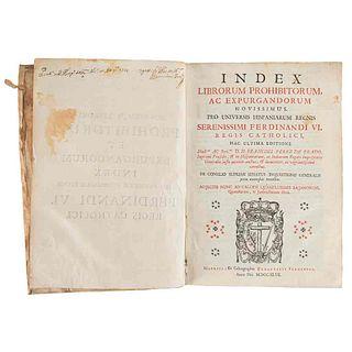 Perez de Prado, Francisci. Index Librorum Prohibitorum, ac Expurgandorum Novissimus... Matriti, 1747. Tomo Primero.