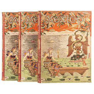 Sierra, Justo. México, su Evolución Social. Inventario Monumental...México, 1900-02.Tomos I-II (3 vols). 1a. edición. lustrados. Pzs: 3