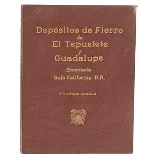"""González, Jenaro. Depósitos de Fierro de """"El Tepustete"""" y """"Guadalupe"""" Municipio de Ensenada... México,1938. Mecanografiado. Firmado."""