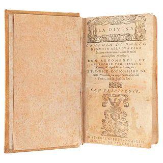 Alighieri, Dante. La Divina Comedia di Dante. Venecia: Apresso Gabriel Giolito de Ferrari, 1555. Profusamente ilustrado.