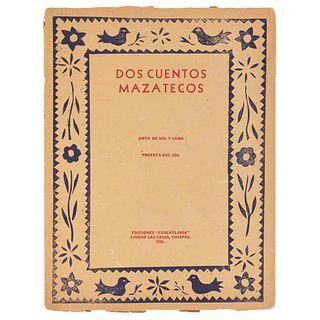 """Castro, Carlo Antonio. Dos Cuentos Mazatecos """"Orto de Sol y Luna"""" - """"Profeta del Sol"""". Ciudad las Casas, Chiapas: 1956. Tres láminas."""