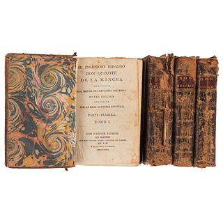 Cervantes Saavedra, Miguel de. El Ingenioso Hidalgo Don Quixote de la Mancha. Madrid, 1782. Tomos I - IV.  22 láminas. Piezas: 4.