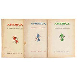 Neruda, Pablo - Guzmán Araujo, Roberto. América, Revista Mensual. Tribuna de las Democracias. México, 1942 / 1943. Pzs:3.