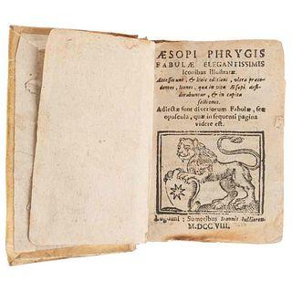 Phrygis, Aesopi. Fabulae Elegantissimis, Iconibus illustratae. Lugduni: Sumptibus Ioannis Iullieron, 1708. 40 grabados 1/4 de página.