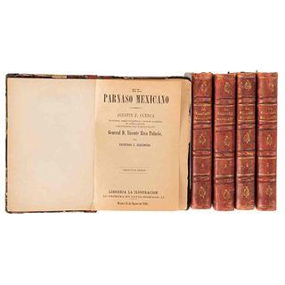 Riva Palacio, Vicente. El Parnaso Mexicano. México: Librería La Ilustración, 1885 y 1886. Retrato y biografía de varios autores. Pzs. 5