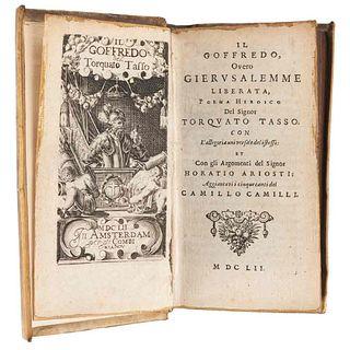 Tasso, Torquato. Il Goffredo, Overo Gierusalemme Liberata. Amsterdam: Combi & la Nou, 1652. Frontispicio.