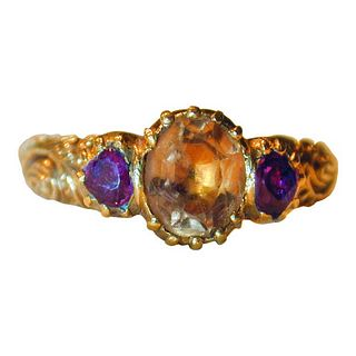 C1780 18K Georgian TOPAZ & Ruby RING