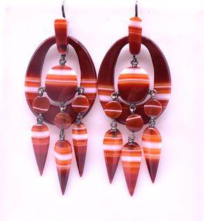 Antique Victorian Banded Carnelian Agate Earrings , c1880