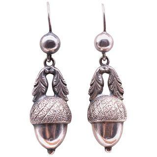 Antique c1880 Silver Acorn Earrings