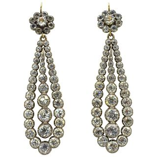 Antique c1800 Paste and Silver Long Drop Earrings
