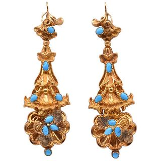 Antique Turqouise and Gold Drop Earrings, circa 1850