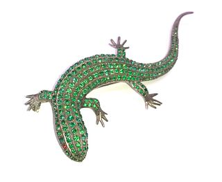 Antique 1890 Green Paste Lizard Brooch on Sterling