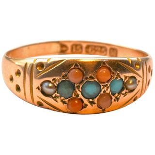 Antique Turquoise Coral and Pearl Gold Gypsy Ring HM 1895