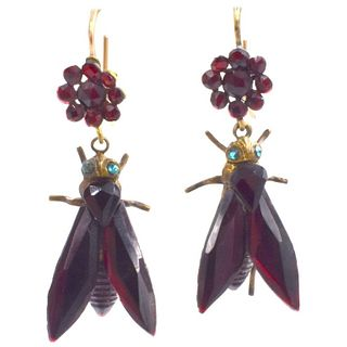 Antique Vauxhall Glass Fly Earrings c1860