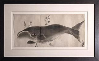 Japanese Whale Watercolor - Semi-kujira / Right Whale