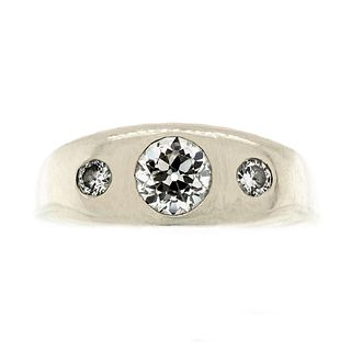 Men's Mid Century Three Stone Diamond and White Gold Ring
