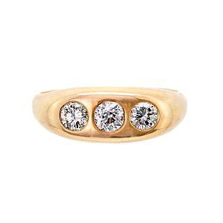 Men's Three Stone Diamond and 14 Karat Yellow Gold Ring