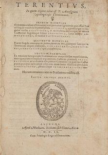 Terenzio Afro, Publio - Terentius, in quem triplex edita est P. Antesignani Rapistagnensis commentatio